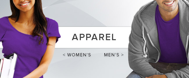 Picture of female and male students. Click to shop Men's and Women's  Apparel now.